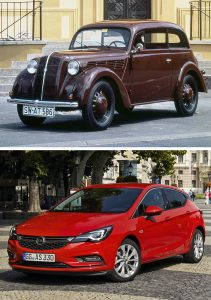 80 years of appreciation: Oldest Kadett meets youngest Opel Astra. Both were praised by customers and press alike when they made their debuts.